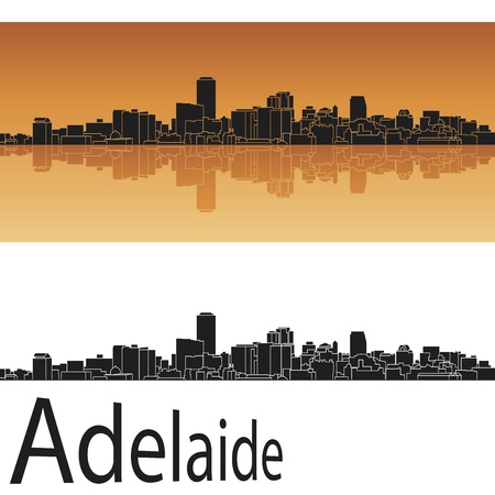 australia landscape: Adelaide skyline in orange background in editable vector file Illustration