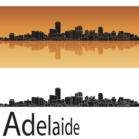 adelaide: Adelaide skyline in orange background in editable vector file Illustration
