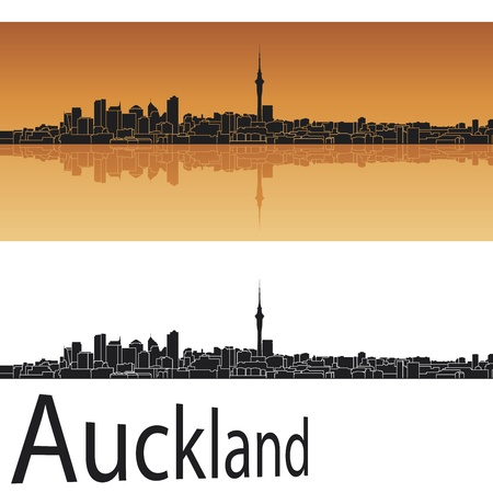 new zealand landscape: Auckland skyline in orange background in editable vector file Illustration