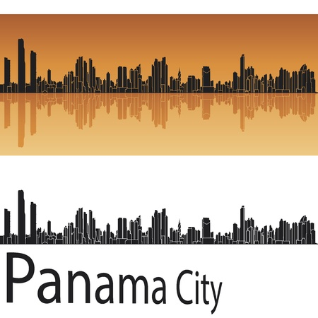 panama: Panama City skyline in orange background in editable vector file Illustration