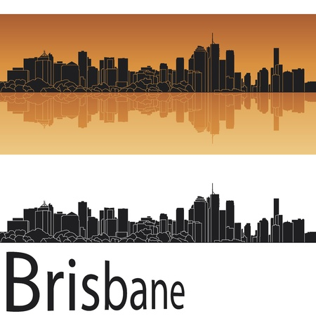 australia landscape: Brisbane skyline in orange background in editable vector file