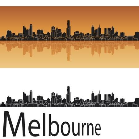 cityscape silhouette: Melbourne skyline in orange background  Illustration
