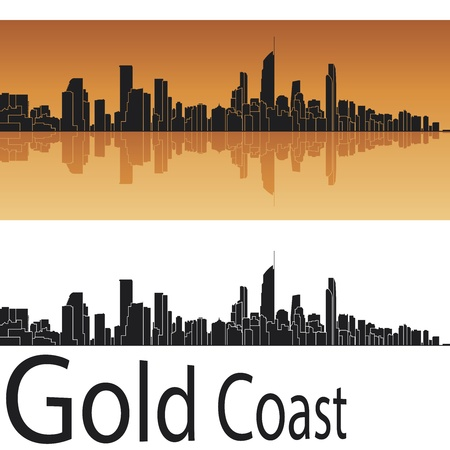 panoramic view: Gold Coast skyline in orange background Illustration