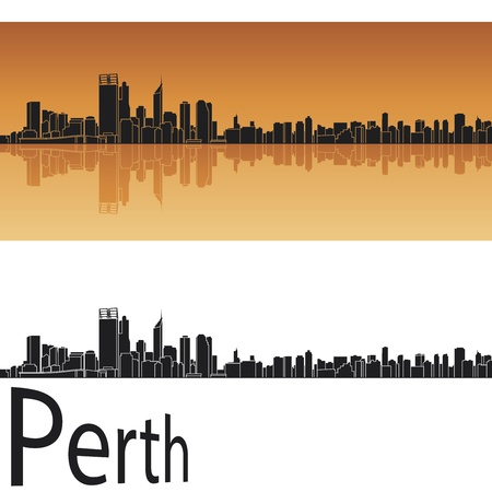 perth: Perth skyline in orange background
