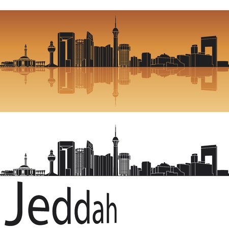 Jeddah skyline in orange background