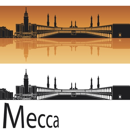 saudi: Mecca skyline in orange background in editable vector file Illustration