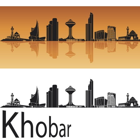 Khobar skyline in orange background Stock Vector - 17965502