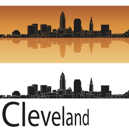 ohio: Cleveland skyline in orange background in editable vector file