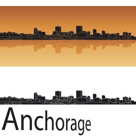 anchorage: Anchorage skyline in orange background in editable vector file Illustration