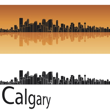 Calgary skyline in orange background in editable vector file