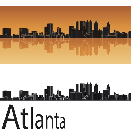 horizon reflection: Atlanta skyline in orange background in editable vector file