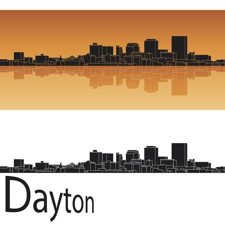 Dayton skyline in orange background in editable vector file Stock Vector - 18005931