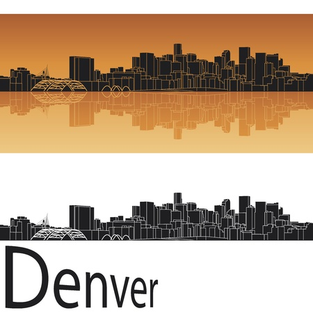 Denver skyline in orange background in editable vector file Vector