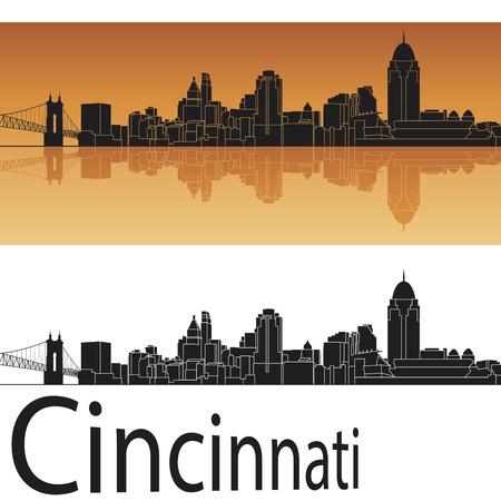 ohio: Cincinnati skyline in orange background in editable vector file