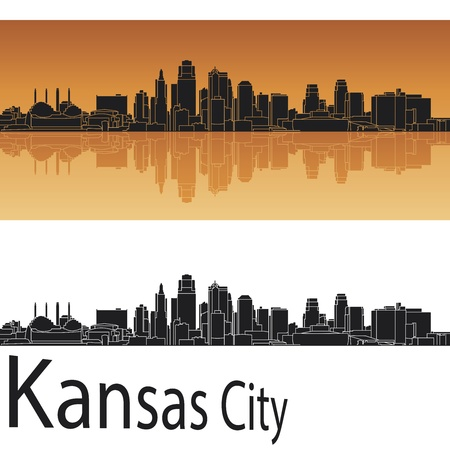 panoramic view: Kansas City skyline in orange background