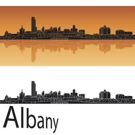 Albany skyline in orange background in editable vector file Vector