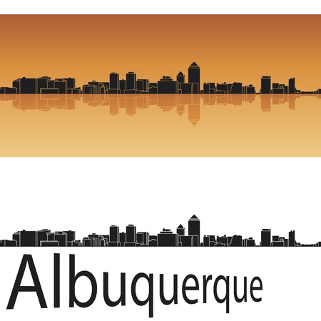 Albuquerque skyline in orange background in editable vector file Vector
