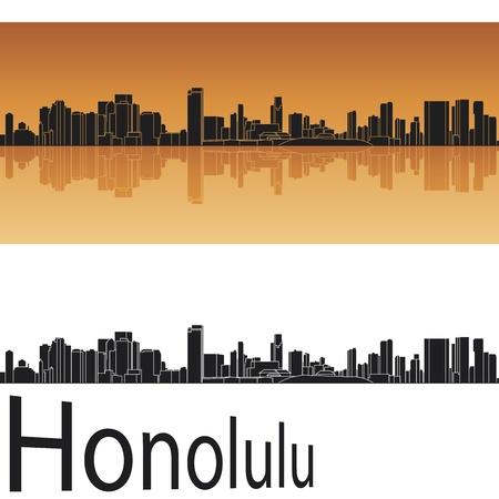 honolulu: Honolulu skyline in orange background in editable vector file