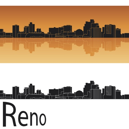 horizon reflection: Reno skyline in orange background in editable vector file