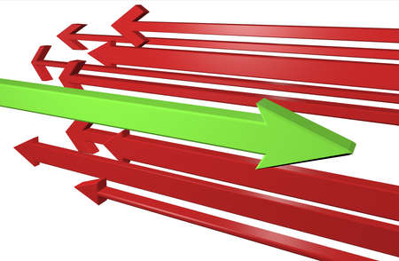 Red and green arrows 3D illustration, conceptual representation right direction illustration