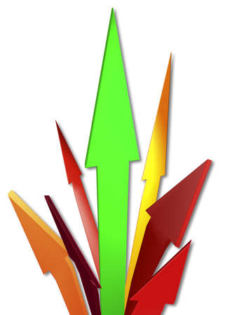 Red and green arrows 3D illustration, conceptual representation of growth illustration