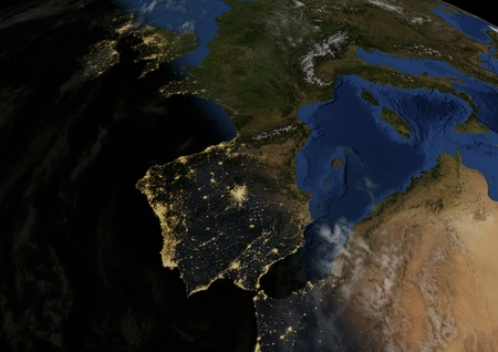 dawns: dawns in Spain, 3d illustration with satellite photos Stock Photo