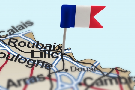 positioning: pin with flag of France in Lille with selective focus Stock Photo