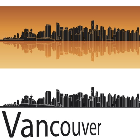 vancouver city: Vancouver skyline in orange background in editable vector file