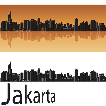 Jakarta skyline in orange background in editable vector file Vector