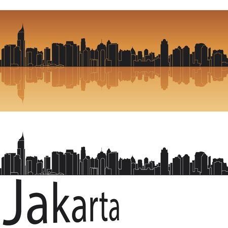 Jakarta skyline in orange background in editable vector file Illustration