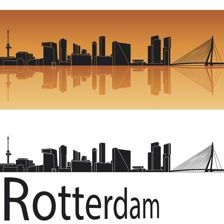 rotterdam: Rotterdam skyline in orange background in editable vector file