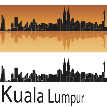 Kuala Lumpur skyline in orange background in editable vector file