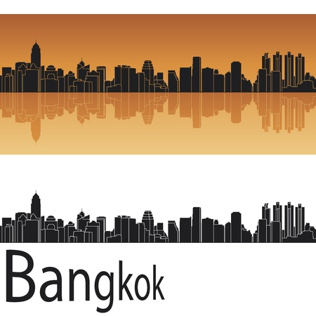 bangkok: Bangkok skyline in orange background in editable vector file