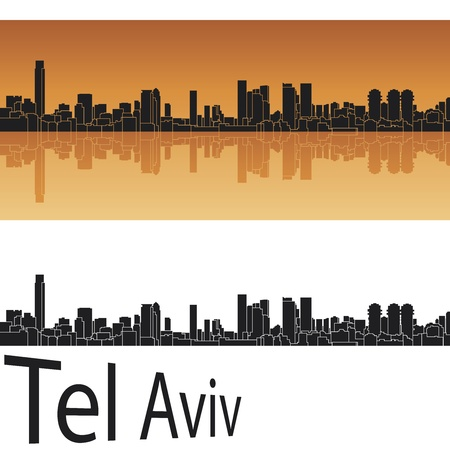 Tel Aviv skyline in orange background in editable vector file Illustration