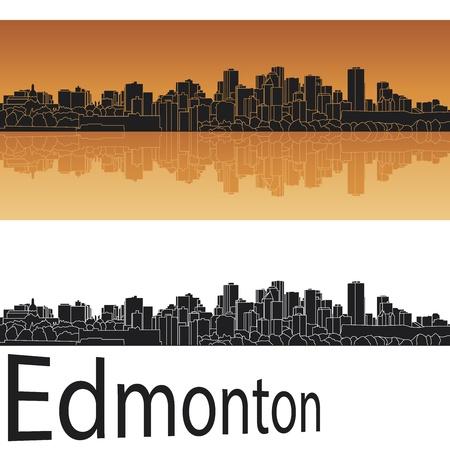 Edmonton skyline in orange background in editable vector file Vector