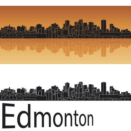 alberta: Edmonton skyline in orange background in editable vector file