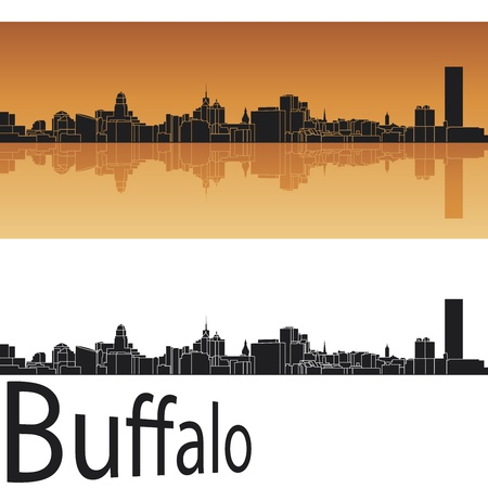 Buffalo skyline in orange background in editable vector file Vector