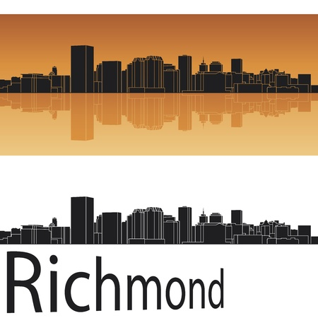 virginia: Richmond skyline in orange background in editable vector file Illustration