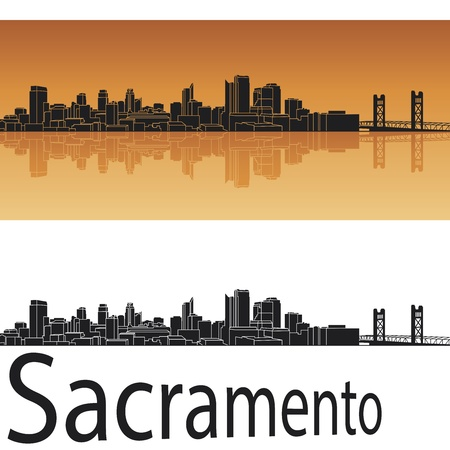 sacramento: Sacramento skyline in orange background in editable vector file Illustration