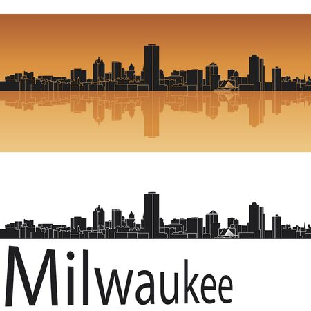 Milwaukee skyline in orange background in editable vector file Vector