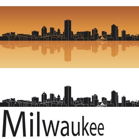 milwaukee: Milwaukee skyline in orange background in editable vector file Illustration