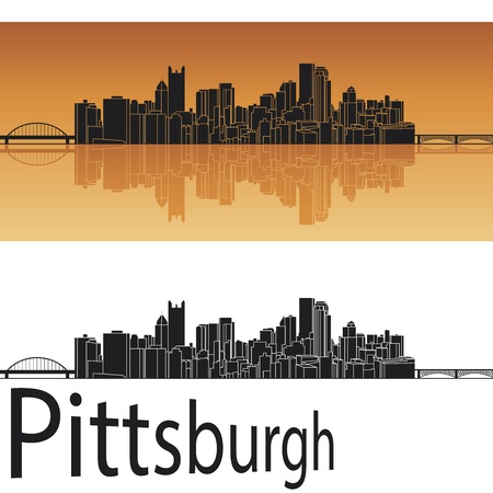 reflected: Pittsburgh skyline in orange background in editable vector file