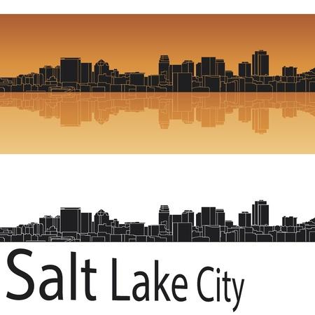 panorama city: Salt Lake City skyline in orange background in editable vector file