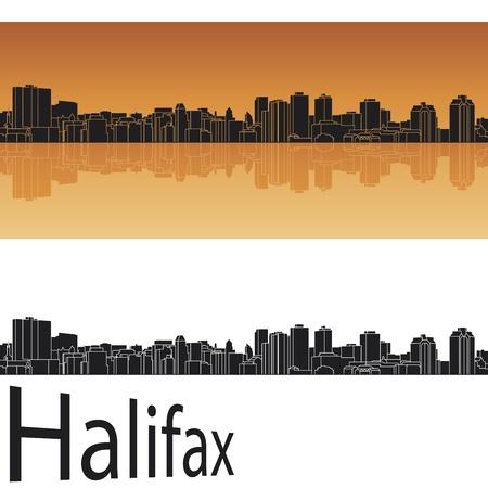 Halifax skyline in orange background in editable vector file Vector