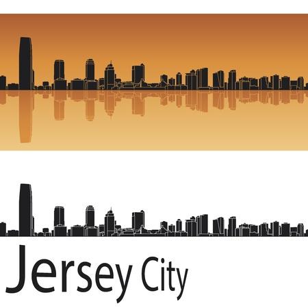 jersey city: Jersey City skyline in orange background in editable vector file Illustration