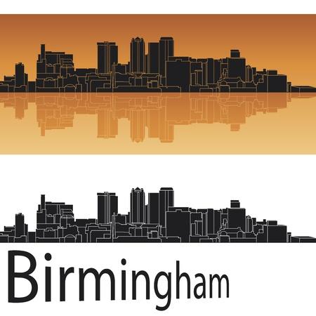 alabama: Birmingham skyline in orange background