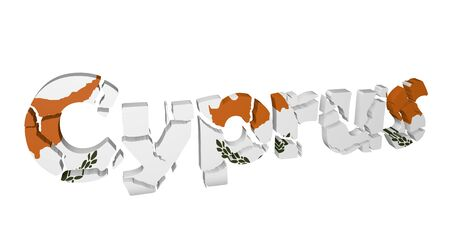 Cyprus, a country in crisis, letters fractured with national flag Stock Photo - 18628773