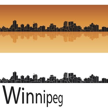 Winnipeg skyline in orange background Stock Vector - 18628793