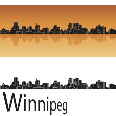 panoramic business: Winnipeg skyline in orange background