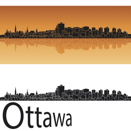 Ottawa skyline in orange background in editable file Vector